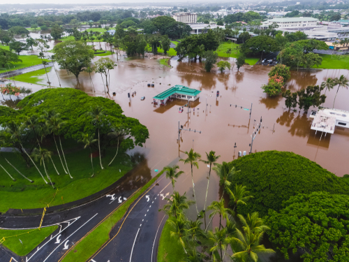 Flooding in Hawaii after a hurricane brought record amounts of rain to the Big Island.