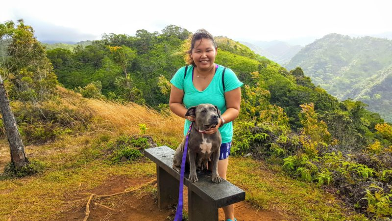 Daisy and me during a photoshoot at a pretty lookout on Manana trail.