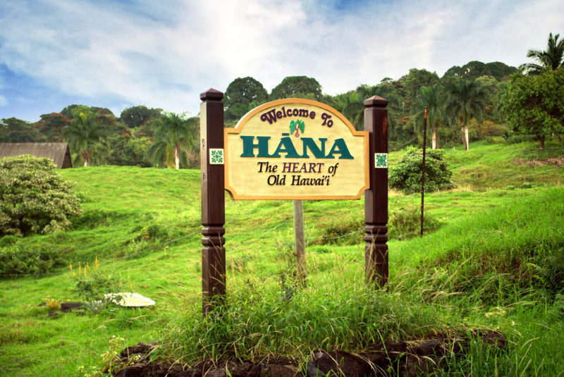 The welcome to Hana sign. From the best Hawaiian island to visit for kids.