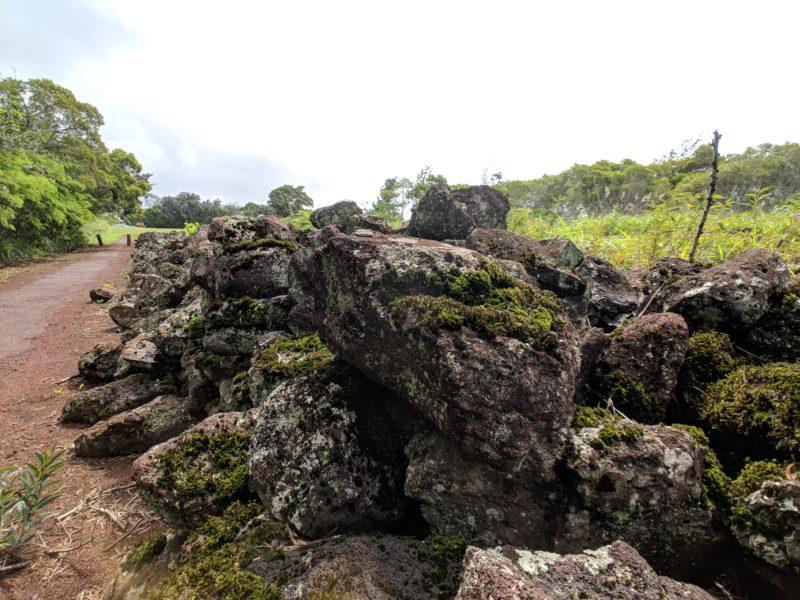 Heiau ruins while walking along the path.