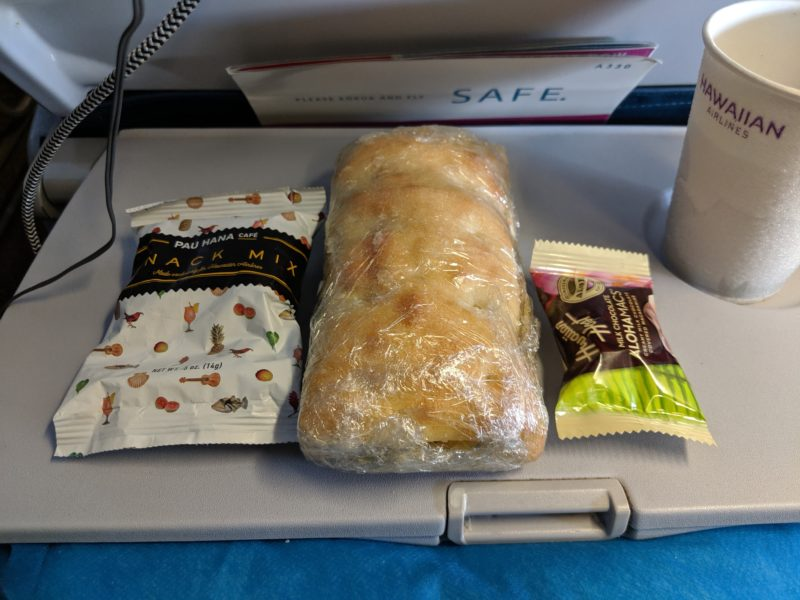 Hawaiian Airlines Boston to Honolulu flight breakfast.