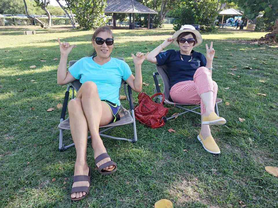 My Mom and Aunty in the shade at White Plains Beach.