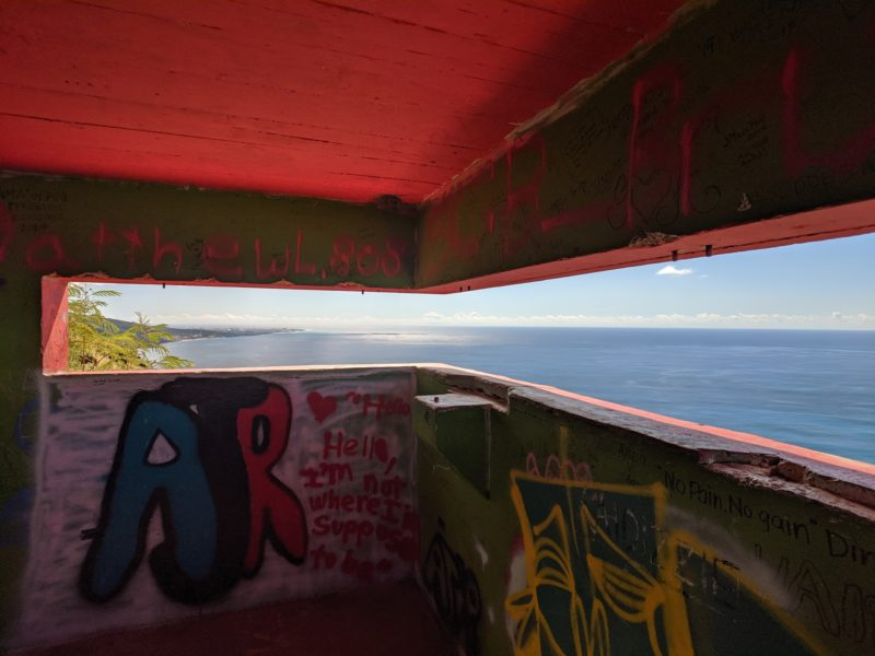 The view from inside a pillbox.