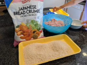 Ready the bread crumbs in a separate tray.