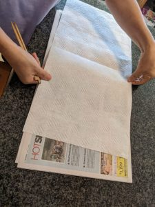 Set up some paper towels on newspaper for later.