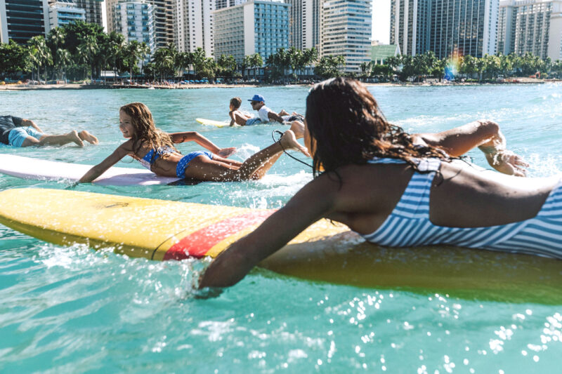 Surfing lessons with the family in Waikiki.