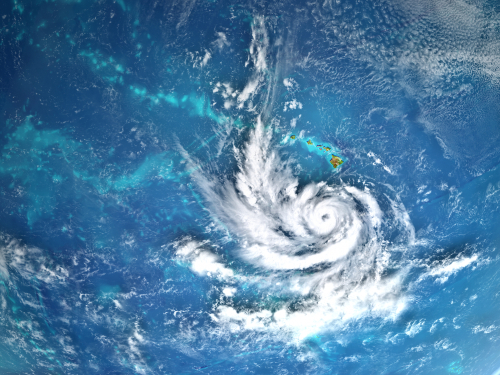Hurricane Lane approaching Hawaii in August 2018. 3D illustration. Elements of this image furnished by NASA.