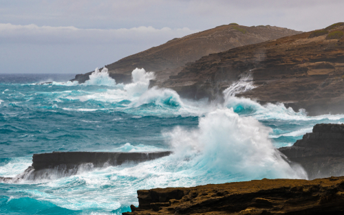 Rough seas around the cliffs of east Oahu, Hawaii during the approach of Hurricane Lane on August 24, 2018.