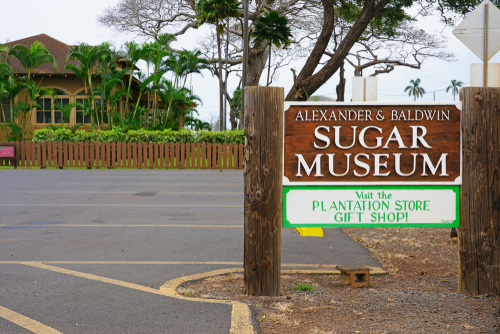 The entrance sign to the Alexander & Baldwin Sugar Museum. Editorial credit: EQRoy / Shutterstock.com