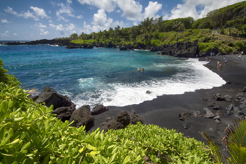 A black sand beach at Waianapanapa State Park.