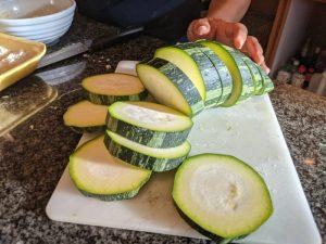 Sliced zucchini.