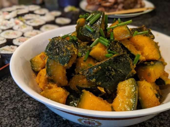 Deliciously soft and sweet kabocha is very easy to eat.