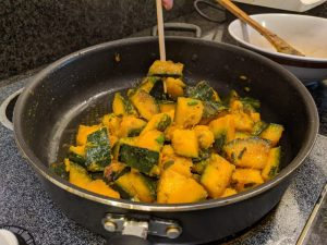 Do a chopstick test to see if the kabocha is fully cooked.