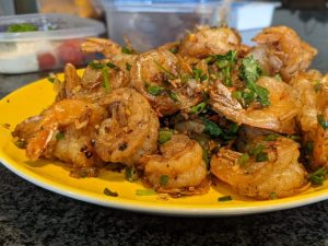 One of my favorites: salt and pepper shrimp that's so crispy you can eat the shell and tail!