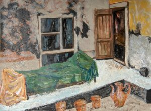 Pam Chadick Aloisa. Afghan Courtyard. Acrylic on paper.