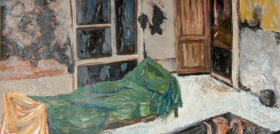 Pam Chadick Aloisa. Afghan Courtyard. Acrylic on paper.