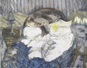 Pam Chadick Aloisa. Baby in Candlelight. Oil pastel, graphite, watercolor on paper.