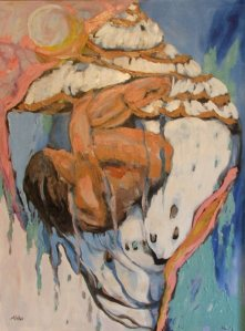 Pam Chadick Aloisa. Conch Shell Figure. Acrylic on canvas.