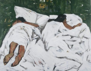 Pam Chadick Aloisa. Couple in bed. Acrylic on paper.