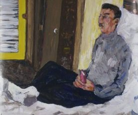 Pam Chadick Aloisa. Homeless Man. Acrylic on paper.
