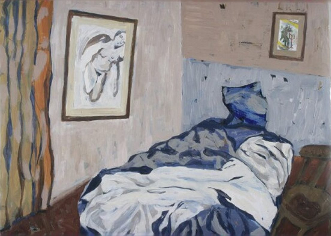 Pam Chadick Aloisa. Laura's Bedroom with her artworks. Acrylic on paper.