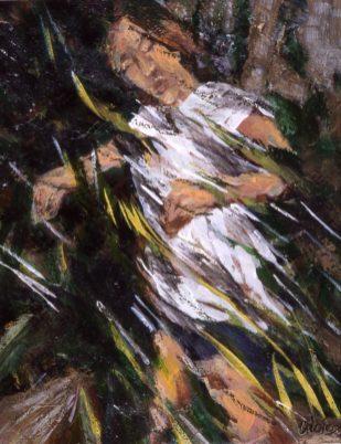 Pam Chadick Aloisa. Runner. Acrylic on paper.