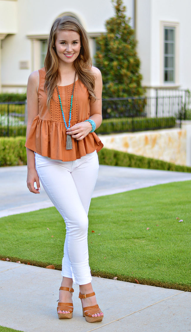 burnt orange top, tassel necklace, turquoise tassel necklace, cheap tassel necklace, peplum tank top, white skinny jeans, peplum anthropologie top