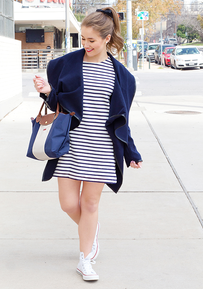 high top converse, striped dress, sheinside, custom longchamp, longchamp bag, monogrammed longchamp, high ponytail, navy and white stripes, french fashion