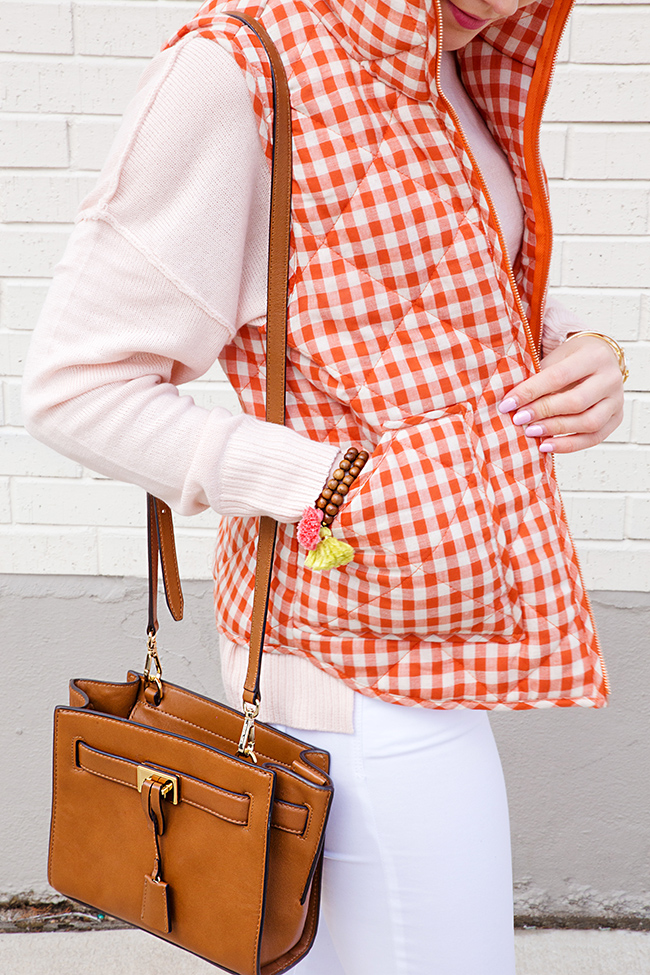 gingham vest, tory burch flats, michael kors crossbody, preppy style, college girl style, sorority girl style