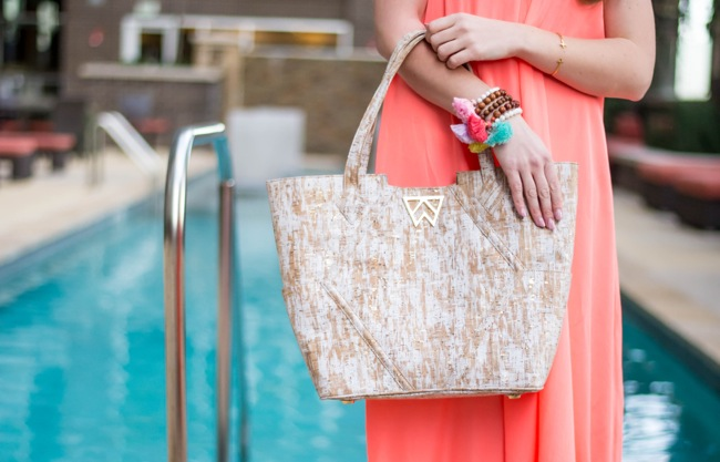 pink stitch maxi dress, kelly wynne, paint the town, tote, tory burch floral wedges, white wedges, pom pom bracelets, thin hoop earrings, kendra scott necklace, spring break style