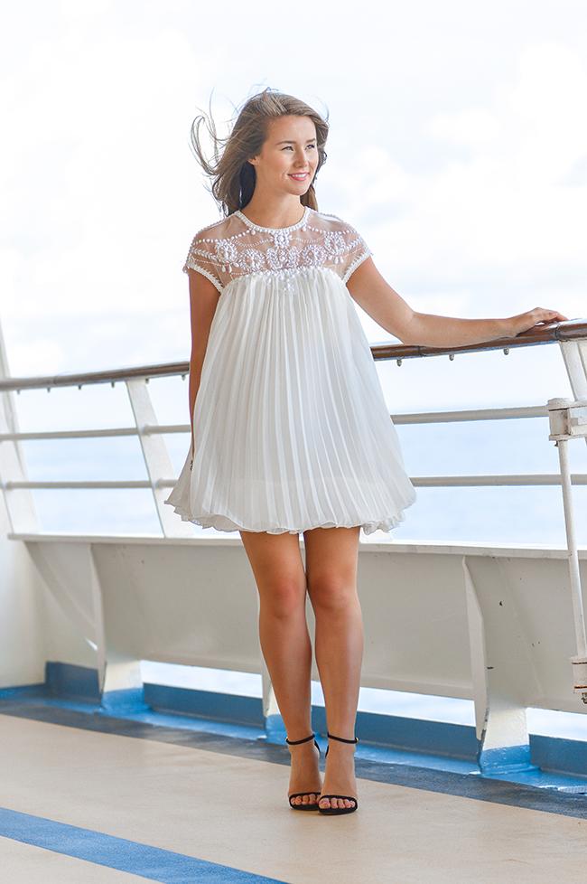 is sheinside legit, sheinside white dress, white embellished dress, stuart weitzman nudist, kendra scott bracelet, southern style, royal caribbean deck, white short dress, white formal dress