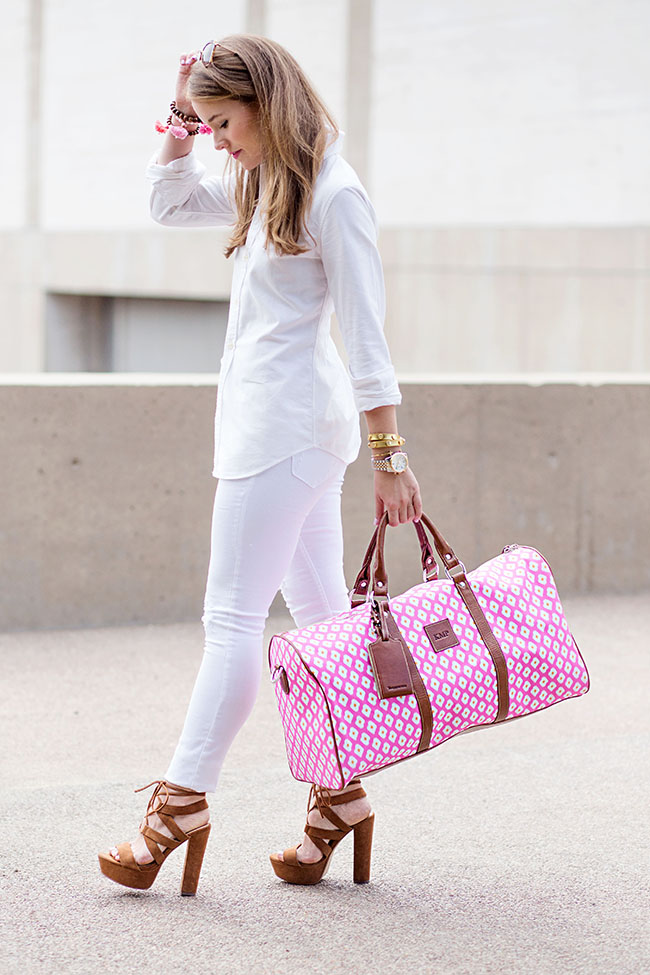 barrington cabin bag, pink tote, pink duffle bag, women's ralph lauren button down, miu miu sunglasses, suede steve madden, southern style, preppy style, sorority style, college girl, fashion blogger