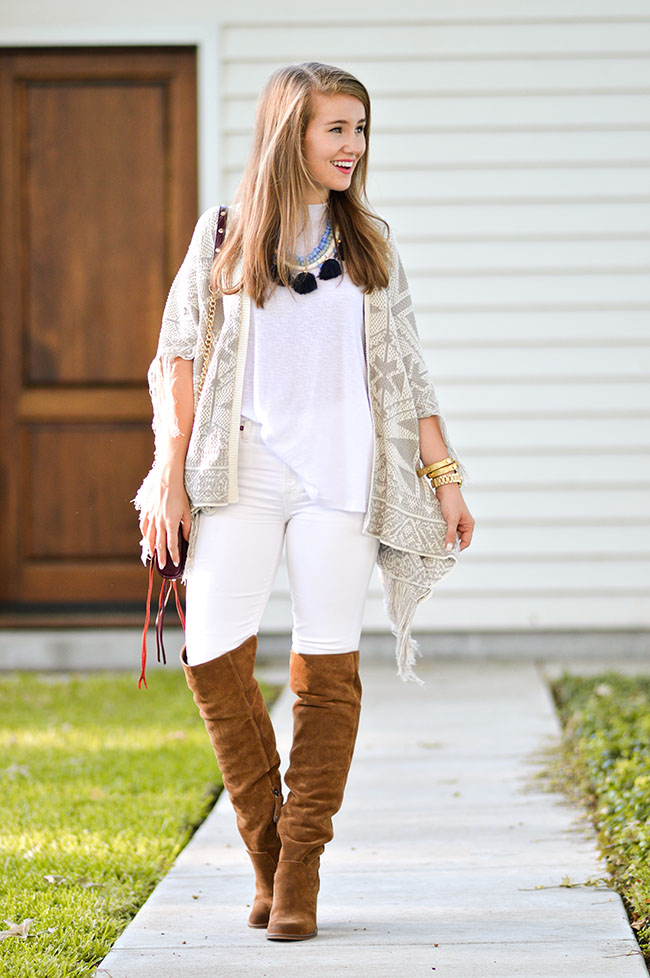 nordstrom anniversary sale, vineyard vines tassel necklace, over the knee boots, dolce vita boots, dolce vita over the knee boots, white jeans and boots, summer sweater, oxblood bag, rebecca minkoff oxblood bag, southern style, fall style, preppy girl, college blogger