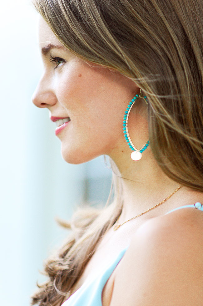 turquoise statement earrings, turquoise hoop earrings