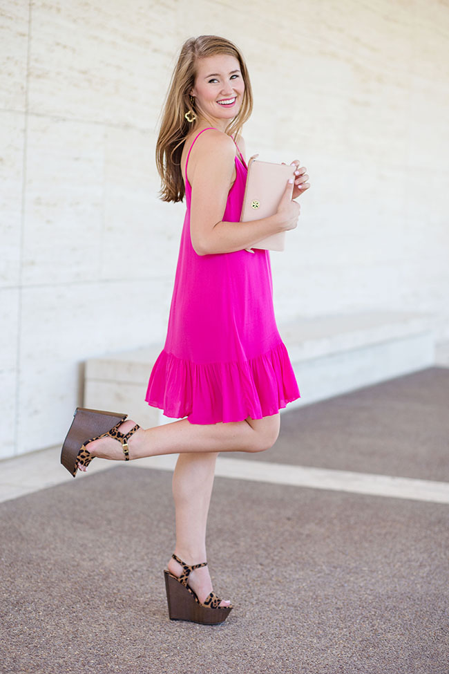 pink party dress, pink dress, red dress boutique, fuschia dress, leopard wedges, cheetah wedges, tory burch clutch, blush clutch, southern style, preppy style, sorority style, college girl, fashion blog