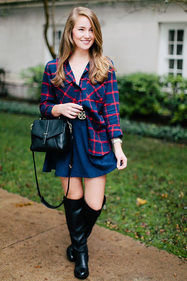 suede skirt, navy skirt, over the knee boots, navy flannel, j.crew navy flannel, tory burch 797 mini satchel, southern girl, southern style, fall style, tory burch belt