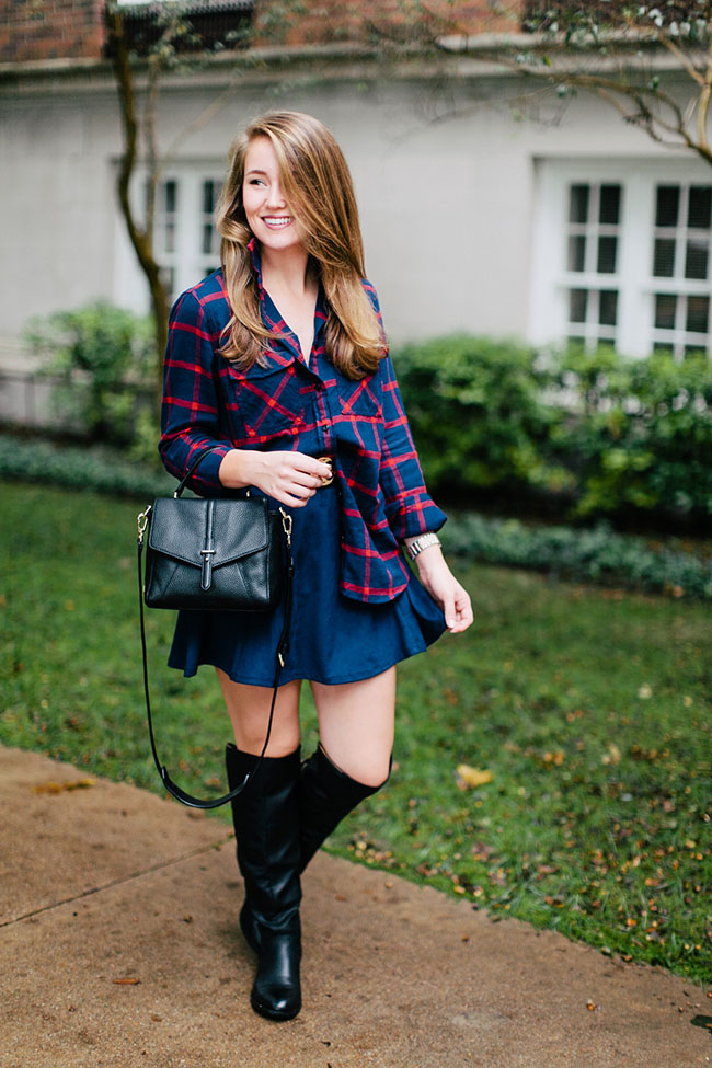 suede skirt, navy skirt, over the knee boots, navy flannel, j.crew navy flannel, tory burch 797 mini satchel, southern girl, southern style, fall style