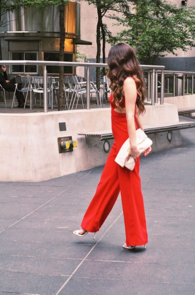 Red hot jumpsuit via A Lo Profile