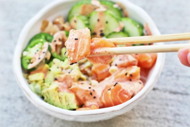 Salmon sashimi bowl recipe via A Lo Profile