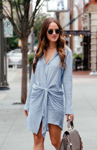 Shirt Dress & Booties for Fall via A Lo Profile