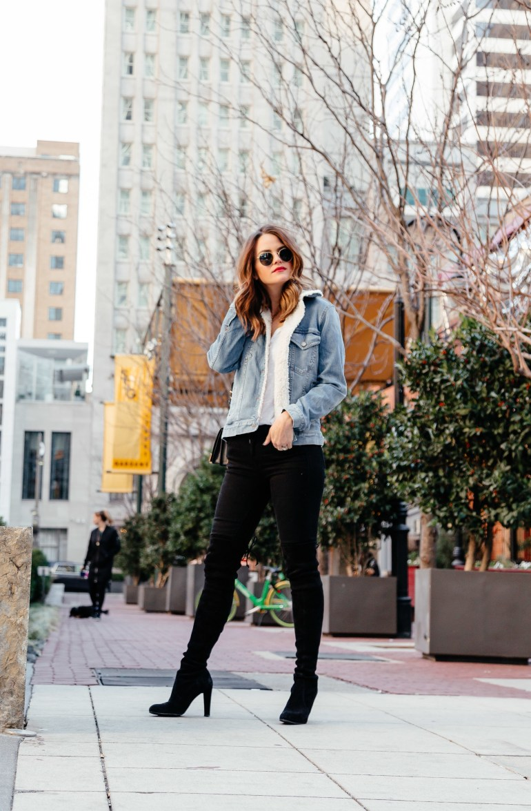 Just be Supportive: Getting a little more personal with some #realtalk on the blog today. Click through to read and shop this adorable sherpa lined denim jacket. #supportive #sherpalined #fauxshearling #denimjacket