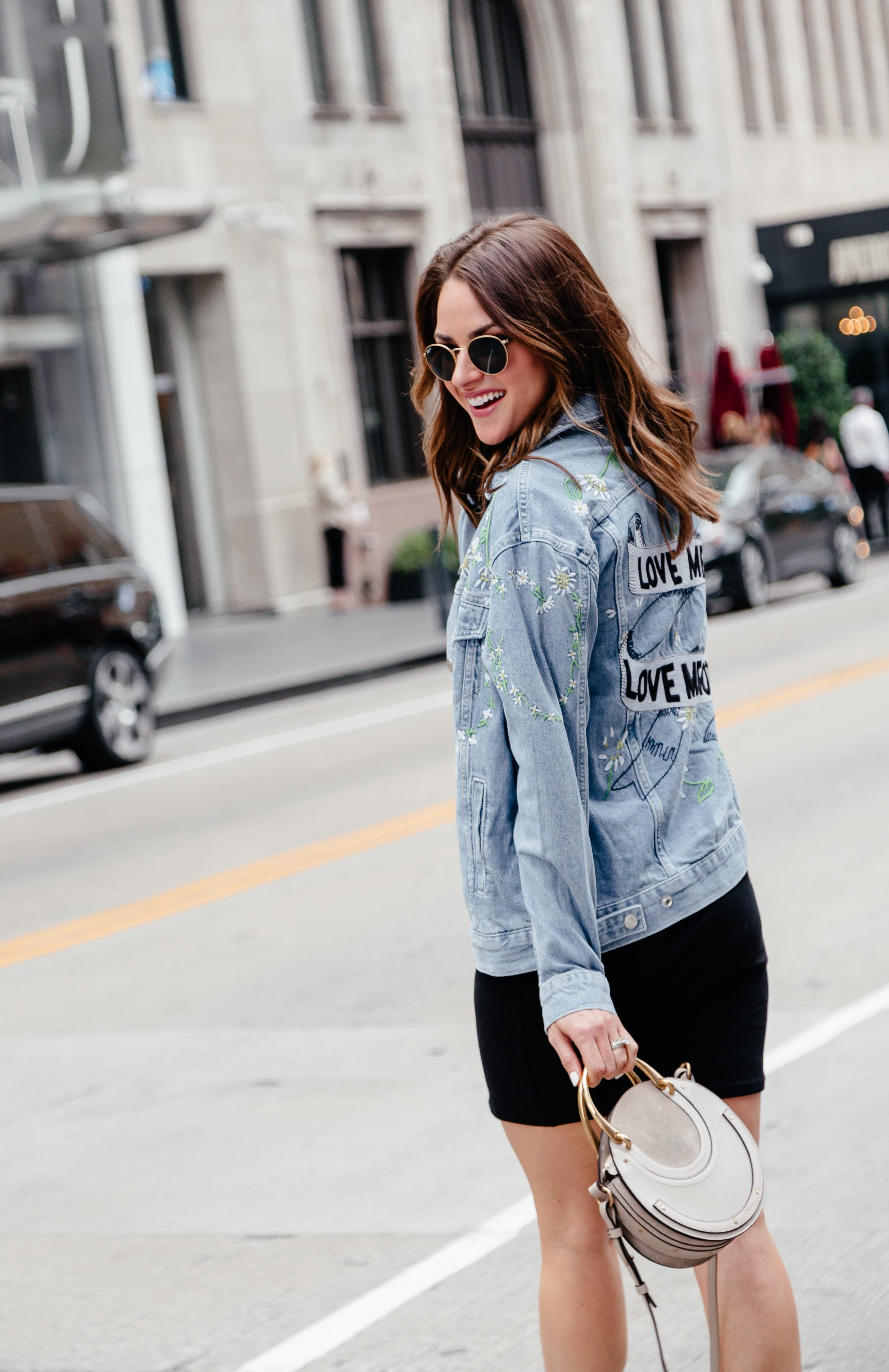 7fc63bee7b5f A Lo Profile wearing an embroidered denim jacket from Topshop at Nordstrom  with a black dress