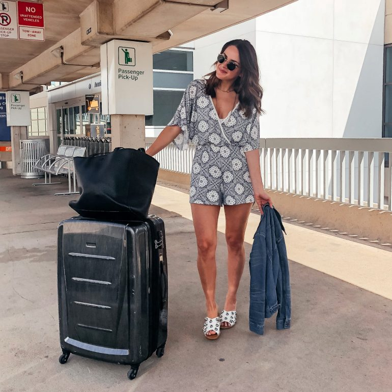 A Lo Profile in a blue and white romper for a comfy travel look to San Miguel de Allende.