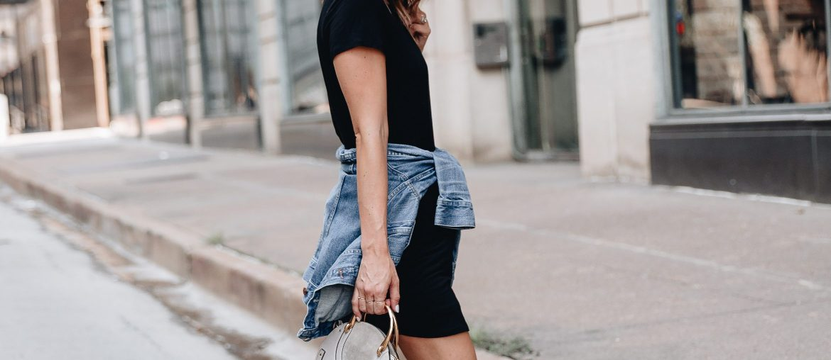 Sharing different ways to style tshirt dresses for fall and rounding up 20 cute tshirt dresses so you can find the perfect one to add to your closet.