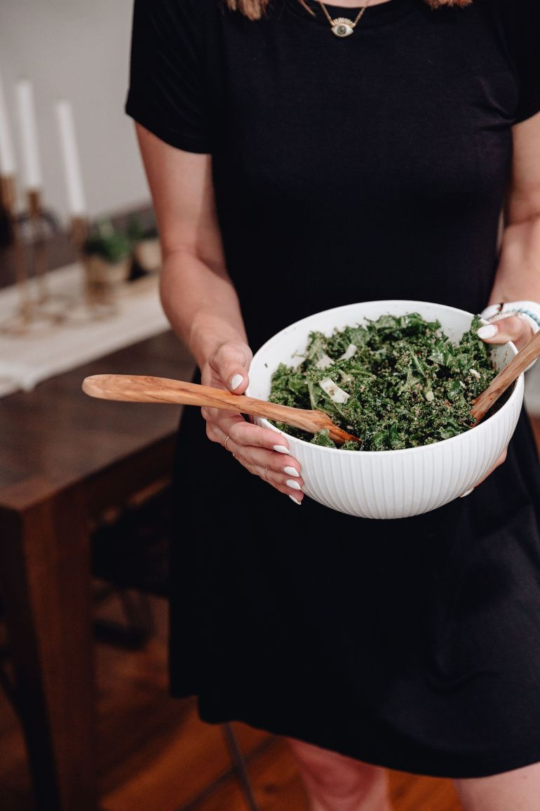 Sharing my super easy go to kale salad recipe that combines a few of my all time favorite ingredients & was inspired by the True Food Kale Salad recipe.