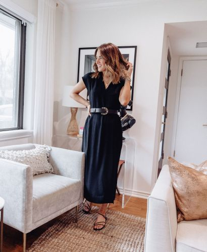 Sharing 8 ways to wear a black Target midi dress including how you can style it casually, edgy, for work, for vacay, errands, & date night.