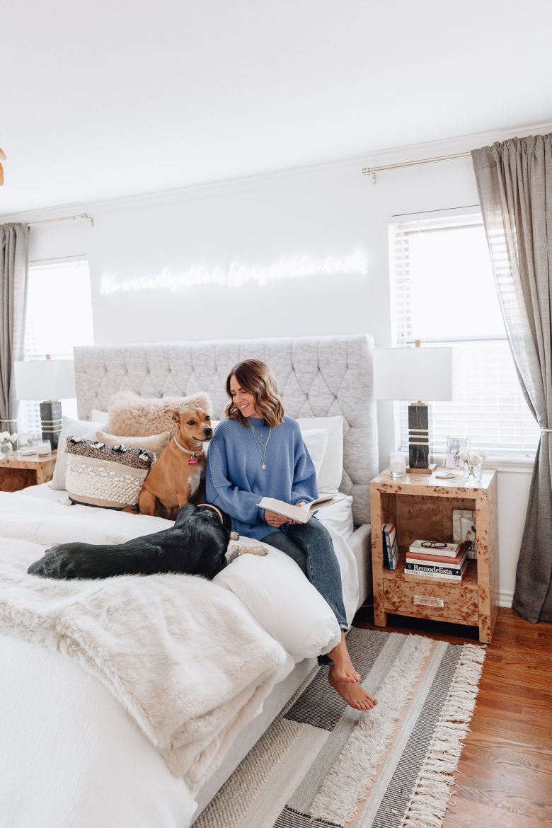 Sharing our master bedroom reveal including where we got everything in our master bedroom & a little more about the styling of it.