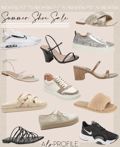 Sharing a summer shoe sale collage featuring sandals, heels, & sneakers that you all can shop now to save on some closet staple footwear.