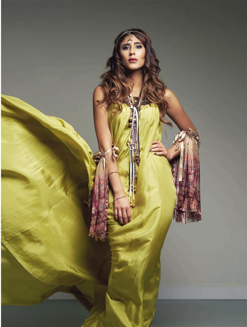 Dress: Alberta Ferretti – Thuraya Mall Scarf: Etro – Thuraya Mall and Prestige The Avenues Mall Necklaces: Chloé – Thuraya Mall