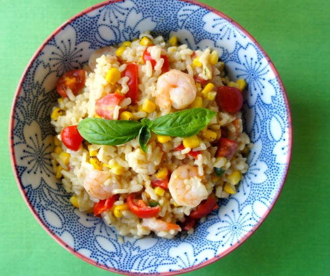 Tomato-Corn Risotto with Shrimp